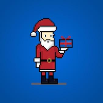 Пиксель санта-клаус рождественский подарок