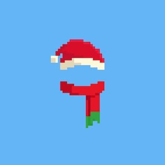 Шапка пиксела санта и красный шарф