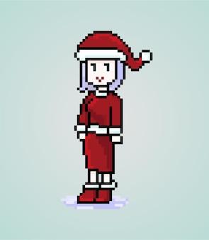 Пиксель санта леди персонаж милая девушка
