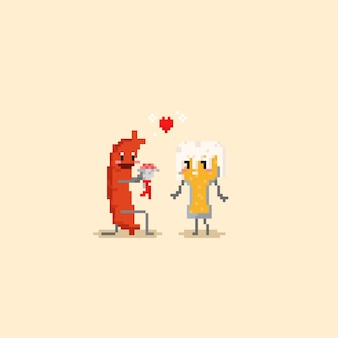 Pixel sausage fall in love with beer