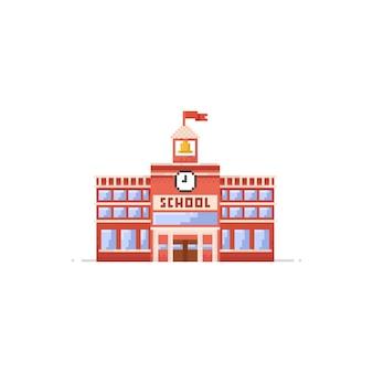 Pixel school building.8bit.education icon.