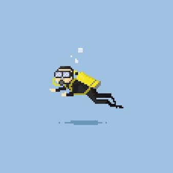 Pixel scuba diver.
