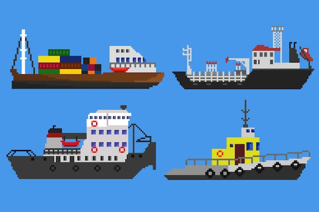 Пиксельные корабли и катера в векторе