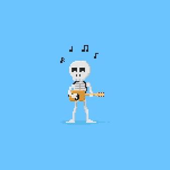 Pixel skeleton playing guitar.