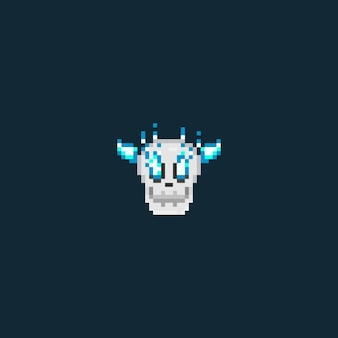 Pixel skull head with blue flame eyes