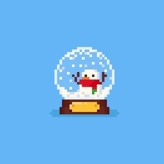 Pixel snow globe with snowman inside.christmas.8bit.