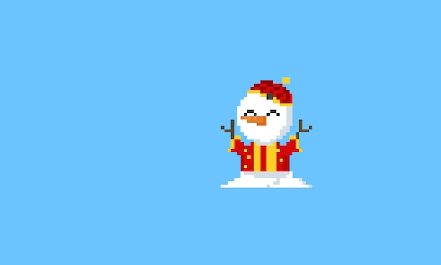 Pixel snowman in chinese costume