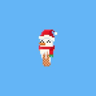 Pixel snowman head ice cream