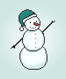 Пиксель снеговик зимний персонаж сезон