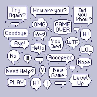 Пиксельные речевые пузыри. набор для разговора с видеоиграми, ретро 8-битный речевой пузырь и компьютерные игры говорят о наборе иллюстраций