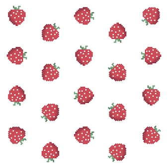 Pixel strawberry pattern