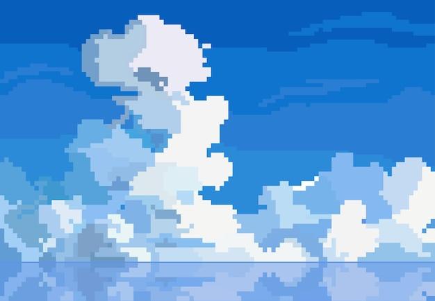 Пиксельный стиль облака в небе с отражением