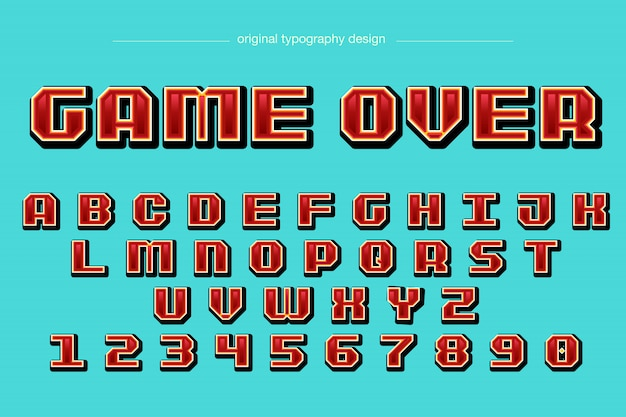 Pixel style red typography design