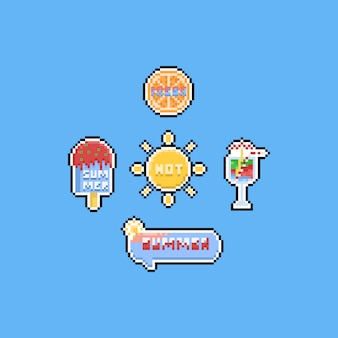 Pixel summer elements with text. 8bit.