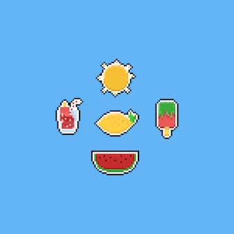 Pixel summer food elements. 8bit.