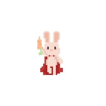 Pixel super bunny holding carrot