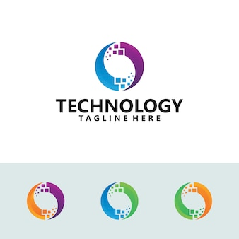 Pixel tech logo icon illustration vector