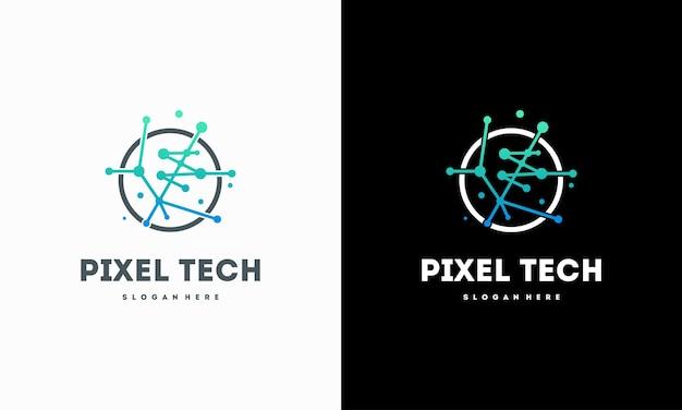 Pixel technology logo designs concept vector, network internet logo symbol, digital wire logo