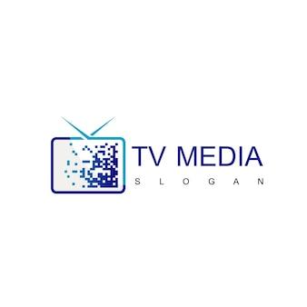 Pixel tv logo, streaming media logo design vector