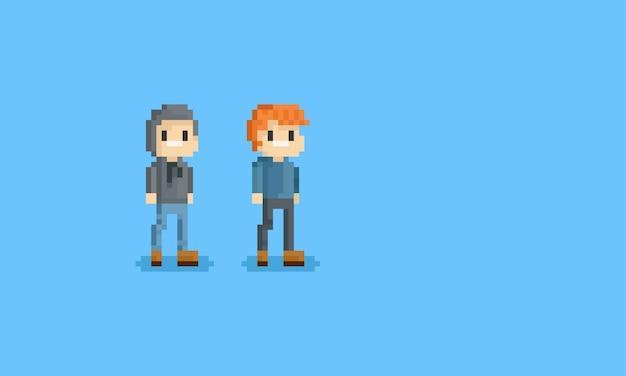 ピクセル2つのパーカの男の子キャラクター.8ビット。