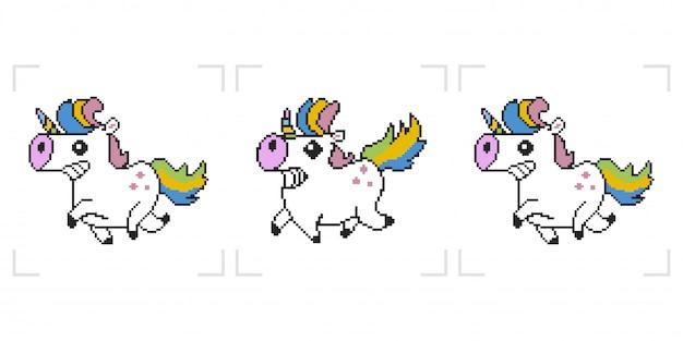 Pixel unicorn. 8 bit  game animation isolated on white background.