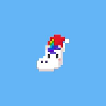 Pixel unicorn head with santa hat