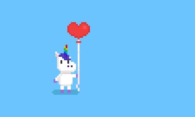 Пиксель единорог держит воздушный шар сердца