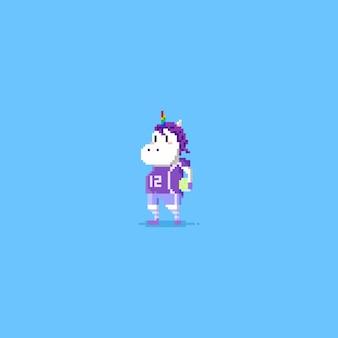 Pixel unicorn soccer player