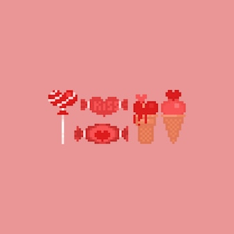 Pixel valentine dessert elements