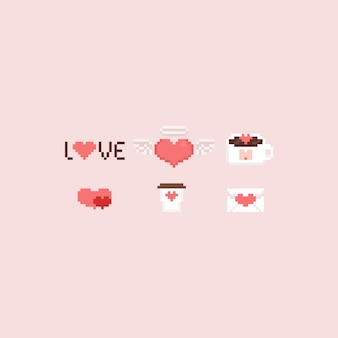 Pixel valentine elements set