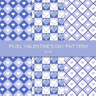 Pixel valentine's day pattern blue
