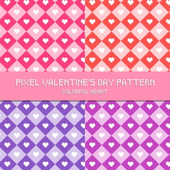 Pixel valentine's day pattern colorful heart