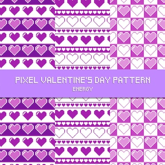 Pixel valentine's day pattern energy purple