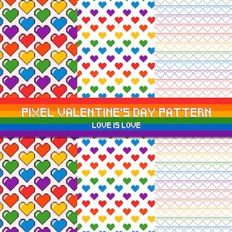 Pixel valentine's day pattern love is love