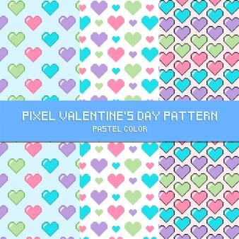 Pixel valentine's day pattern pastel color