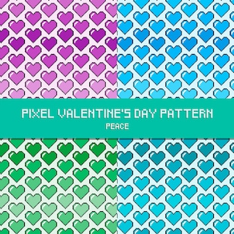 Pixel valentine's day pattern peace