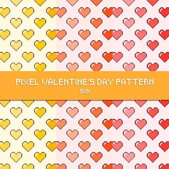 Pixel valentine's day pattern sun