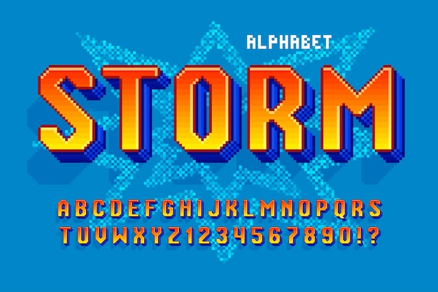 Pixel vector alphabet design, stylized like in 8-bit games. high contrast and sharp, retro-futuristic. easy swatch color control. resize effect.