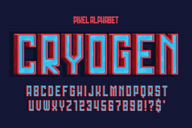 Pixel vector alphabet design, stylized like in console games. high contrast, retro-futuristic. easy swatch color control.