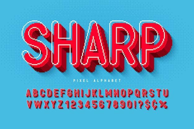 Пиксельный векторный алфавит, стилизованный под 8-битные игры. высококонтрастный и резкий, ретро-футуристический. легкое управление цветными образцами. эффект изменения размера.