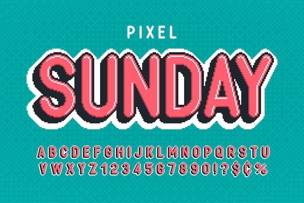 8ビットゲームのように様式化されたピクセルベクトルアルファベットデザイン。ハイコントラストでシャープ、レトロフューチャー。簡単な見本の色制御。サイズ変更効果。