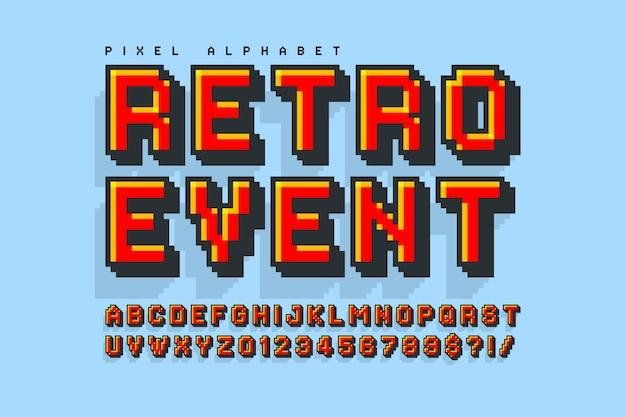 8ビットゲームのように様式化されたピクセルベクトルアルファベットデザイン。ハイコントラストでシャープ、レトロフューチャー。見本の色を簡単に制御できます。サイズ変更効果。