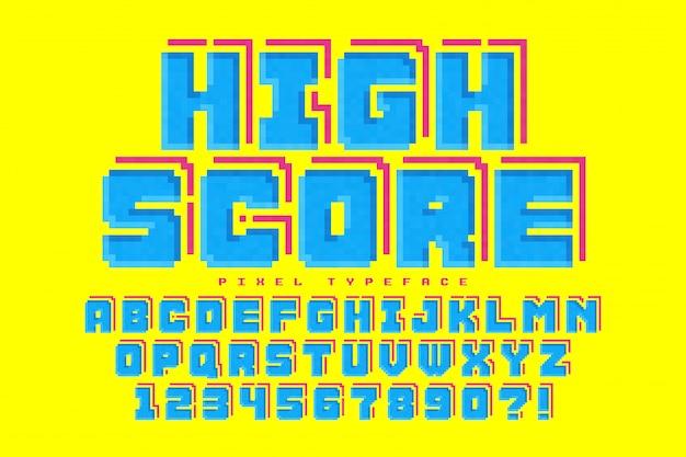8ビットゲームのように定型化されたピクセルベクトルフォントデザイン