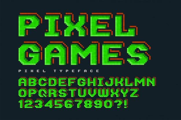 Pixel vector font , stylized like in 8-bit games.