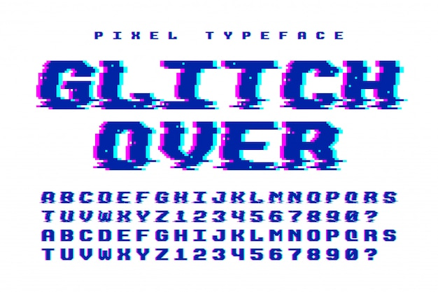 Pixel vector font  with glitch effect. 2 in 1