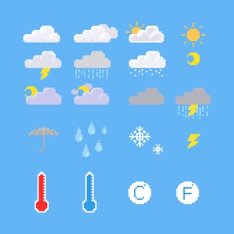 Pixel weather icon set.
