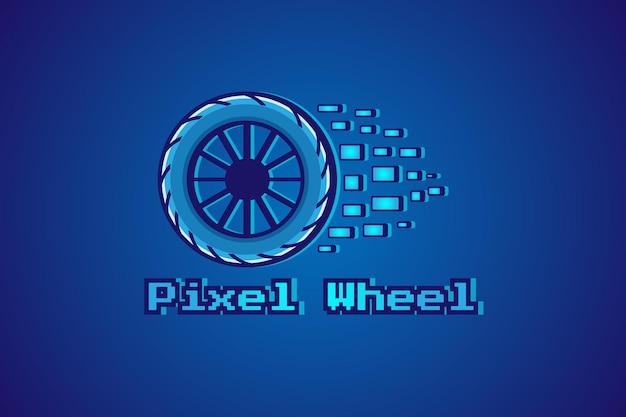 Пиксельное колесо логотип иллюстрации шаржа