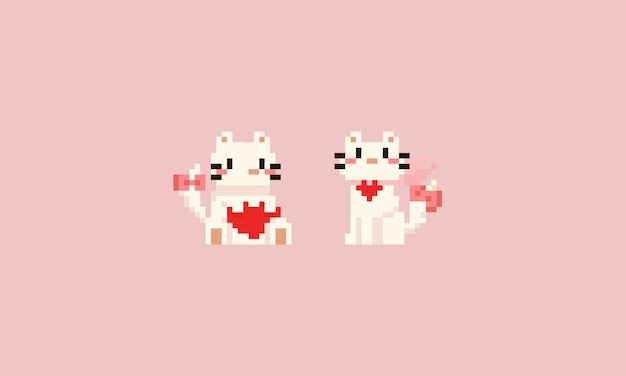 Pixel white cat with heart