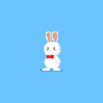 Pixel white rabbit character with red bow tie