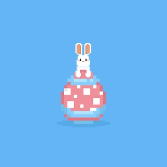 Pixel white rabbit on easter egg